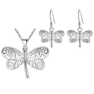 Hot Fashion 925 STERLING SILVER Dragonfly Necklace Earrings Jewelry Set Girls