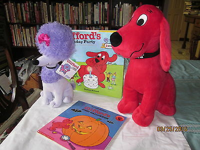 cliffords first halloween 2 plush cleo nwts clifford hardback