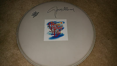 "GREGG ALLMAN SIGNED 14"" WHITE REMO DRUMHEAD Allman Brothers Band"