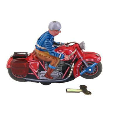 Vintage Wind Up Rider on Motorcycle Clockwork Tin Toy Collectable Gift