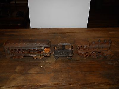 Antique Cast Iron Toy Train Set # 44