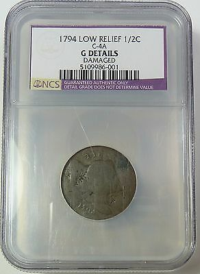 1794 COUNTERSTAMPED Liberty Cap HALF CENT Copper Half Penny US Coin Item #7551XN