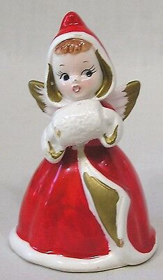 Vintage Christmas Shopper Girl Angel w Hands in Muff 1950s X386