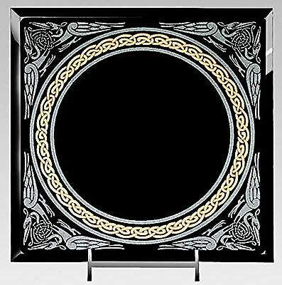 Celtic Scrying Mirror Divination Black Glass With  Easel