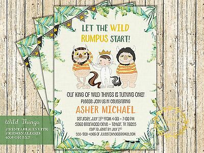Where the Wild Things Are Invitation for Wild Things Birthday Party - Printable