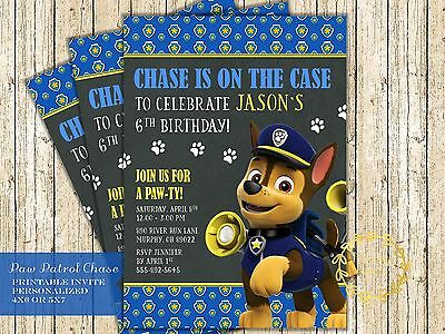 Chase Paw Patrol Invitation for Paw Patrol Birthday Party - Printable