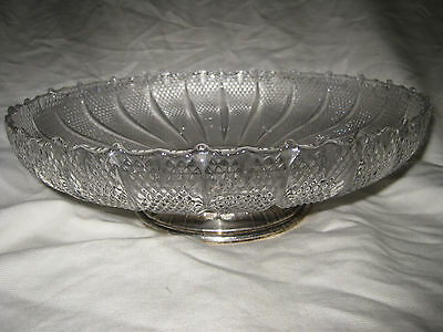 "S Kirk Son 12"" Sterling Silver & Fluted Diamond Pattern Glass Centerpiece Bowl"