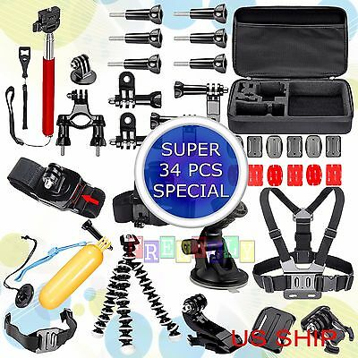 34in1 Head Chest Mount Floating Monopod Accessories Kit For GoPro 2 3 4  Camera