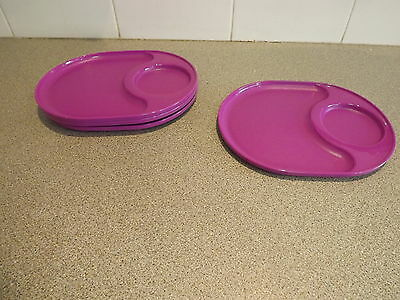 Tupperware Snackatizer Plate Trays Set of 4 each Purple Rare New Snack Plates