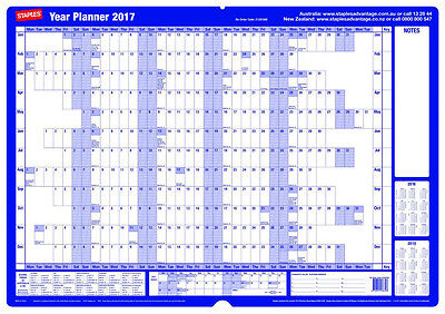 Staples 870X610mm Mounted Board Wall Planner 2017