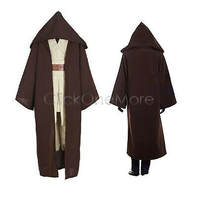 Deluxe Brown Hooded Cloak Cape Long Vampire Halloween Cosplay Party Fancy Dress