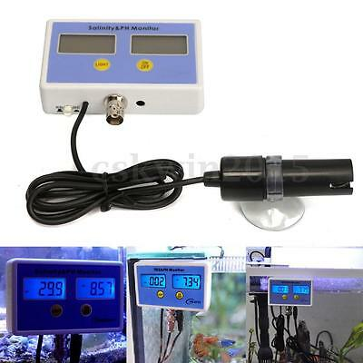 24W Aquarium Electronic Salinity + Ph Value On-Line Meter + Monitor 2 probe