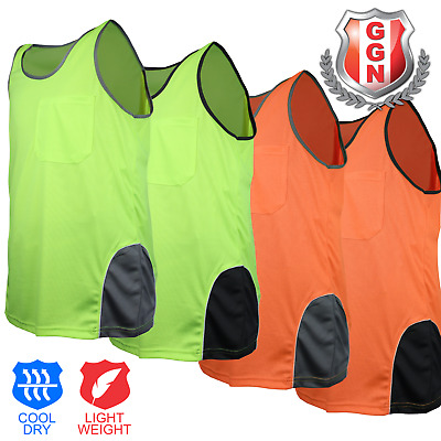 HI VIS TOP,SAFETY  PANEL WITH PIPING SINGLET,Cool_Dry,FLUORO Cool_Dry Work Wear