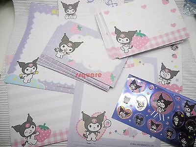 Sanrio Kuromi Strawberry Letter Set, 5 paper + 2 envelope designs + Stickers