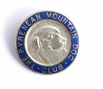 Pyrenean Mountain Dog Vintage Badge Brooch Pin Chrome and Enamel