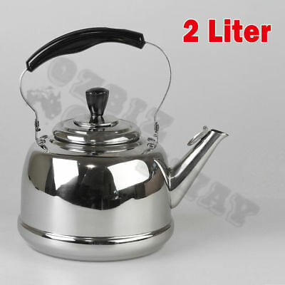 2L Whistling Kettle Kitchen Tea Water Camping Pot  Polishing Stainless Steel