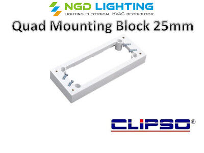 5x Clipso Quad Mounting Block 25mm White for Quad Power Points GPO CLIPSO