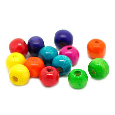 CF Jewelry Accessories 1000 unisex Wood Beads 8x6mm Multicolor