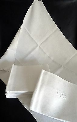 11 Large Fine Silk & Linen Thread French Vintage Dinner Napkins