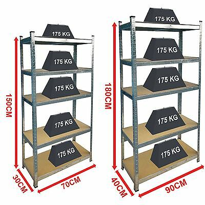 5 Tier Shelf Shelving Unit Racking Heavy Duty Storage Shelves Galvanised