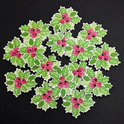 30 Wooden Holly Berry Shape Buttons - Xmas - Craft - Scrapbook - Sewing - Cards