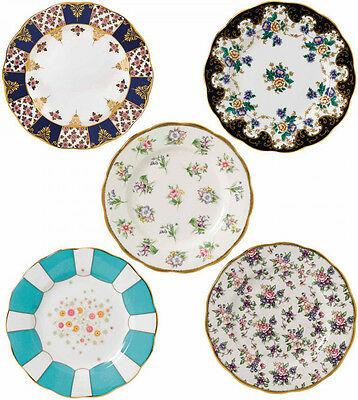 """100 YEARS OF ROYAL ALBERT 5 x PLATES 20cm / 8"""" 1900-1940 - NEW/BOXED"""