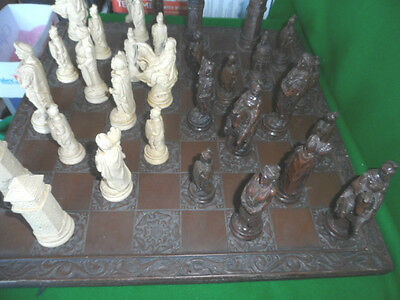Vintage Resin Chess Pieces And Board