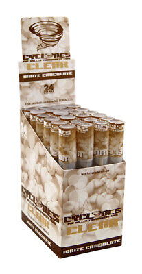 """1 Box (24x) Cyclones CLEAR """"White Chocolate"""" Cones Transparent pre-rolled"""