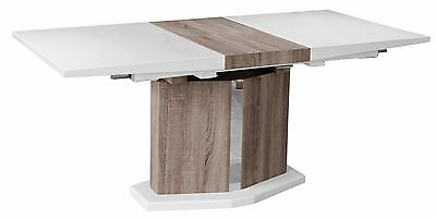 Stunning White High Gloss and Wood Effect Extending Dining Table