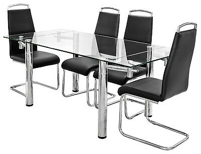 Clear Glass Rectangle Top Extending Dining Table with Chrome Legs