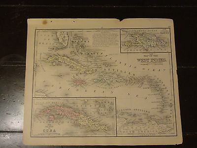 1870 Hand Colored Antique Engraved Map of The West Indies / Cuba - Mitchell's
