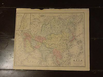 1870 Hand Colored Antique Engraved Map of India, China, Thibet & Corea