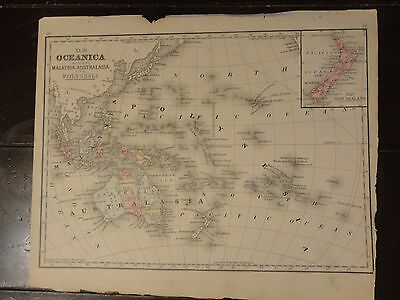 1870 Hand Colored Antique Engraved Map of Oceanica from Mitchell's Atlas