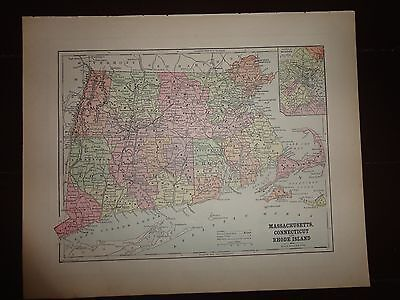 Antique colored map of Mass., Connecticut & Rhode Island 1893 Columbian Atlas