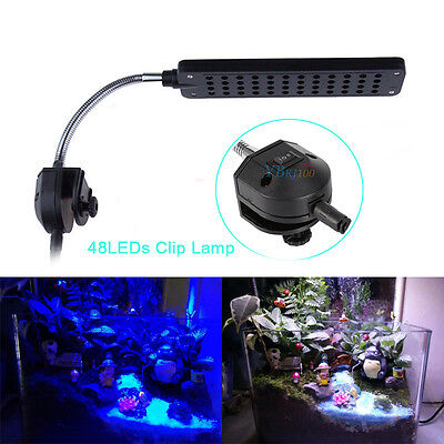 48 LED Aquarium Fish Tank Water Plant 2Mode Clip White/Blue Light Lamp + Charger