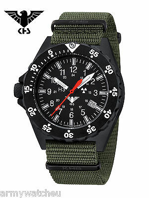 KHS Tactical Watches Black Shooter H3 Trigalights Date Army Strap Oliv KHS.SH.NO