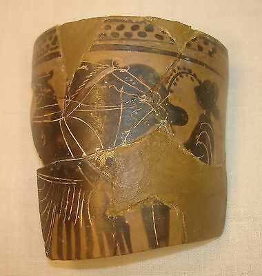 RARE AUTHENTIC ANCIENT ATTIC LEKYTHOS FRAGMENT HAIMON PAINTER ca.5th CENT. BC
