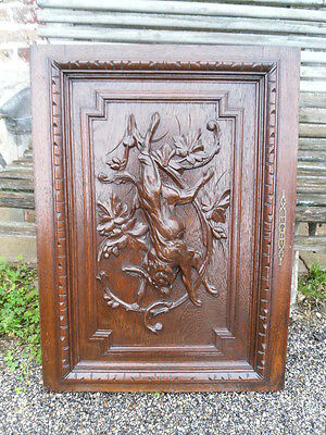 "French antiquity hunting door panel ""hare"" oak nineteenth em"