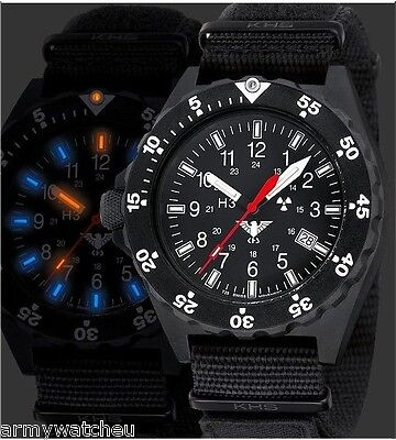 Military Watch KHS Black Shooter Army Strap XTAC Black H3 trigalight Date 20 Bar