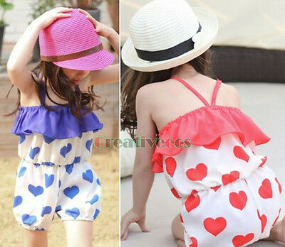 Cute Fashion Kids Toddlers Girls Heart Print 100% Cotton Jumpsuit Hot Playsuit