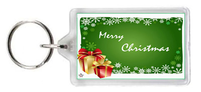 Merry Happy Christmas Festive Wrap Present Quote Saying Gift Keyring