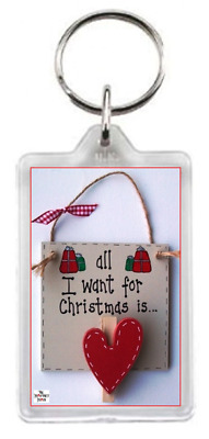Love Heart Plaque Christmas Present Festive Quote Saying Gift Keyring