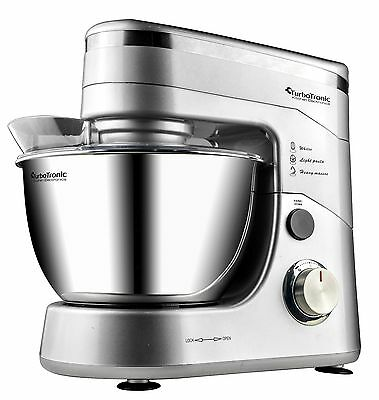 TurboTronic 1200W Food Stand Mixer With 5L Stainless Steel Mixing Bowl SILVER