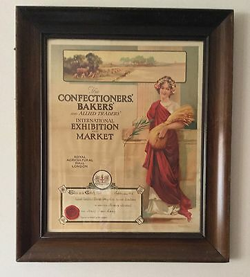 Beautiful Old Bakery Certificate In Mahogany Frame
