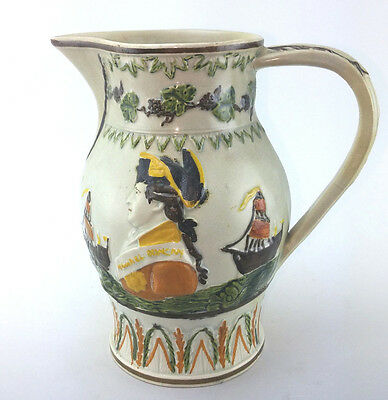 Early Pratt Ware Commemorative Jug Battle of Camperdown