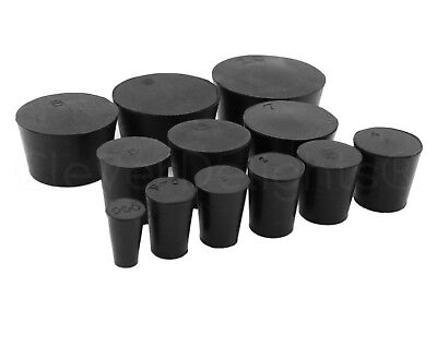 Solid Rubber Stoppers - Size 000 to 14 - Pick Size and Qty - Black Lab Plug Cork