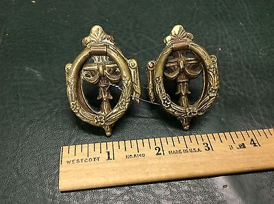 Set of 2 Antique Ornate Solid Brass Drawer Cabinet Pulls Handles