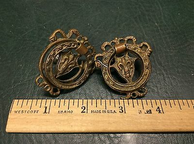 Set of 2 Antique Ornate Solid Brass Drawer Cabinet Pulls Handles 4441