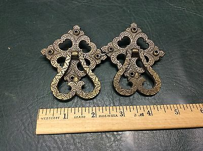 Set of 2 Antique Ornate Solid Brass Drawer Cabinet Pulls Handles F204