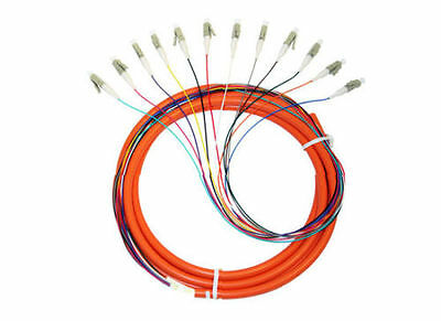 OM1 62.5-Micron Multimode Fiber Optic Pigtail, 12-Strand, LC, Orange, 3m